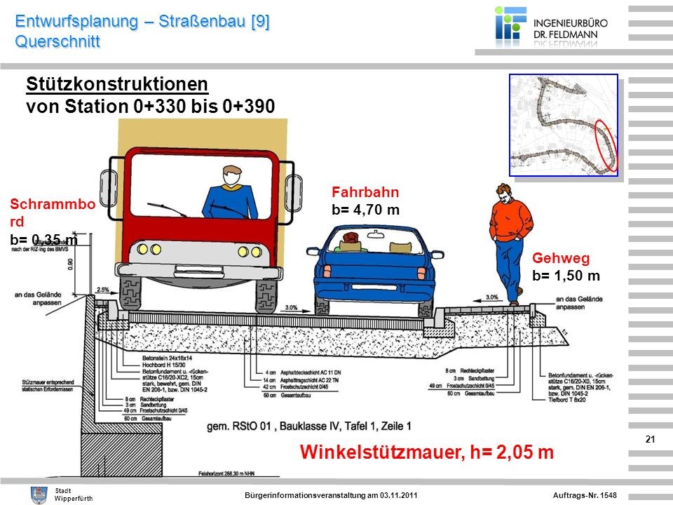 Entwurfsplanung – Straßenbau [9] Querschnitt